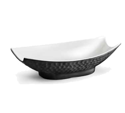 "Tablecraft MB154BKW Rectangular Frostone Bowl - 14-1/2x8-1/2"" Melamine, Black/White"