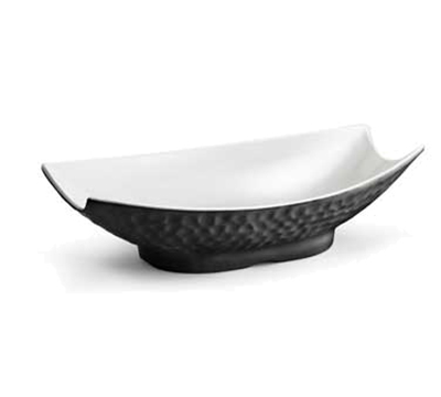 "Tablecraft MB184BKW Rectangular Frostone Bowl - 18x10-3/4"" Melamine, Black"