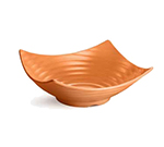 "Tablecraft MB206X 15-1/2"" Square Frostone Bowl - Ribbed, Melamine, Orange"