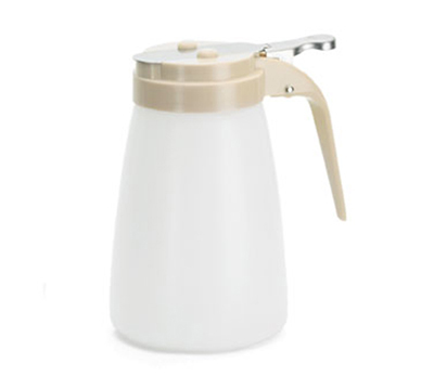 Tablecraft MW10A 10-oz White Polyethylene Dispenser w/ Almond ABS Top