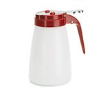 Tablecraft MW10RE 10-oz White Polyethylene Dispenser w/ Red ABS Top