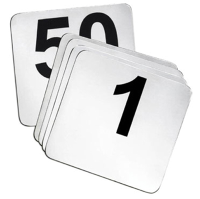Tablecraft N150 4-in Stainless Steel Number Card Signs, 1-50