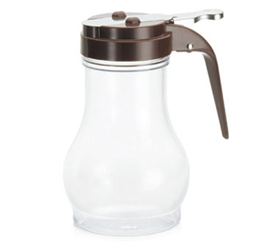 Tablecraft P410B 10-oz Polycarbonate Teardrop Dispenser w/ Brown ABS Top