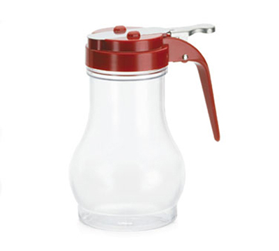 Tablecraft P410RE 10-oz Polycarbonate Teardrop Dispenser w/ Red ABS Top