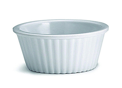 Tablecraft RAM1FW 1-oz Fluted White Melamine Ramekin