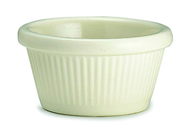 Tablecraft RAM2FB 2-oz Fluted Bone Melamine Ramekin