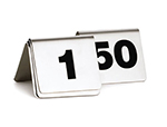 "Tablecraft T150 Tabletop Number Cards - #1-50, 2"" x 2.5"", Stainless/Black"