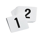 "Tablecraft TN50 Tabletop Number Cards - #1-50, 4"" x 4"", White/Black"