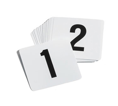 Tablecraft TN50 4-in Plastic Number Card Signs, 1-50