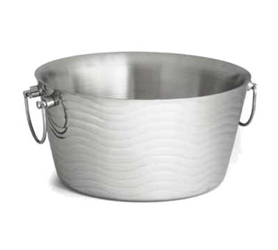 "Tablecraft WBT14 14-1/2"" Wave Ice Bucket - Double-Wall, Stainless"