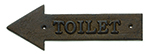 "Tablecraft WCL Antique Bronze Sign, 11-1/2 x 4"" Toilet, Left Arrow"