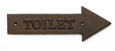 "Tablecraft WCR Antique Bronze Sign, 11-1/2 x 4"", Toilet, Right Arrow"