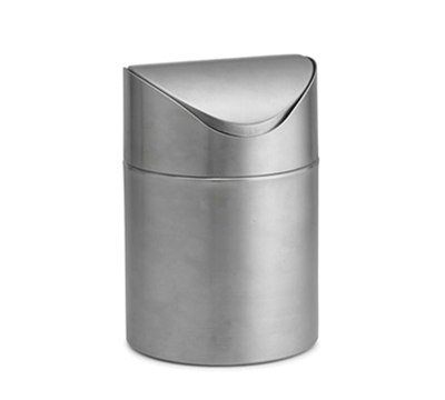 Tablecraft WM2 Round Waste Basket - Metal, Stainless