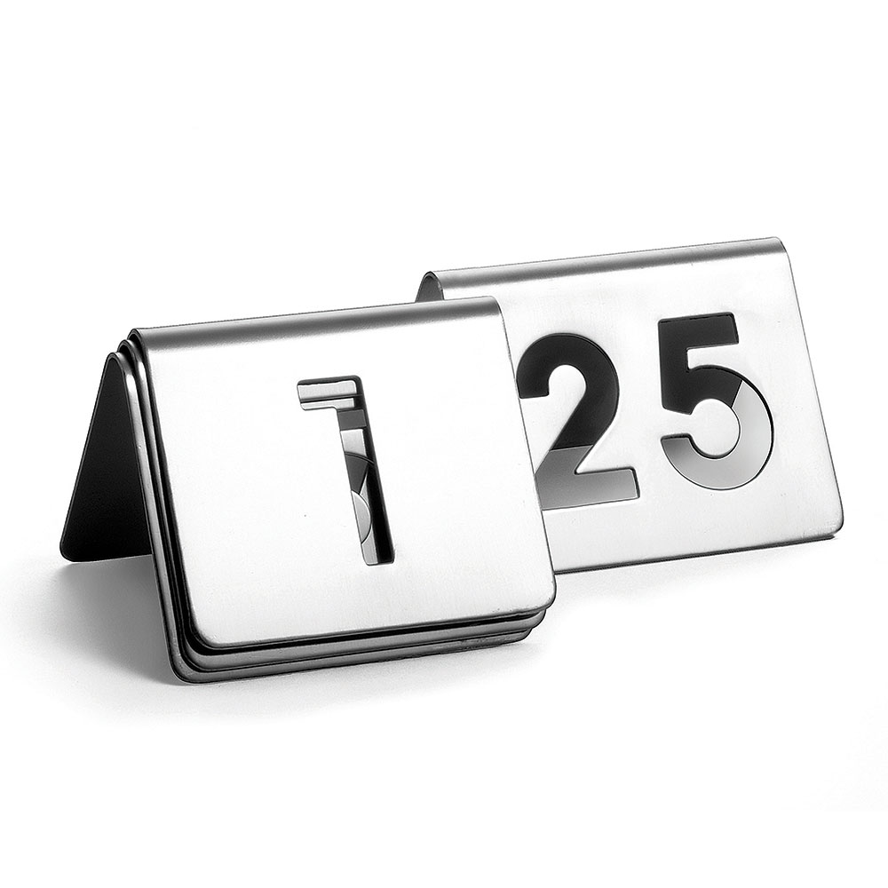 "Tablecraft TC125 Tabletop Number Cards - #1-25, 2.5"" x 2.5"", Stainless"