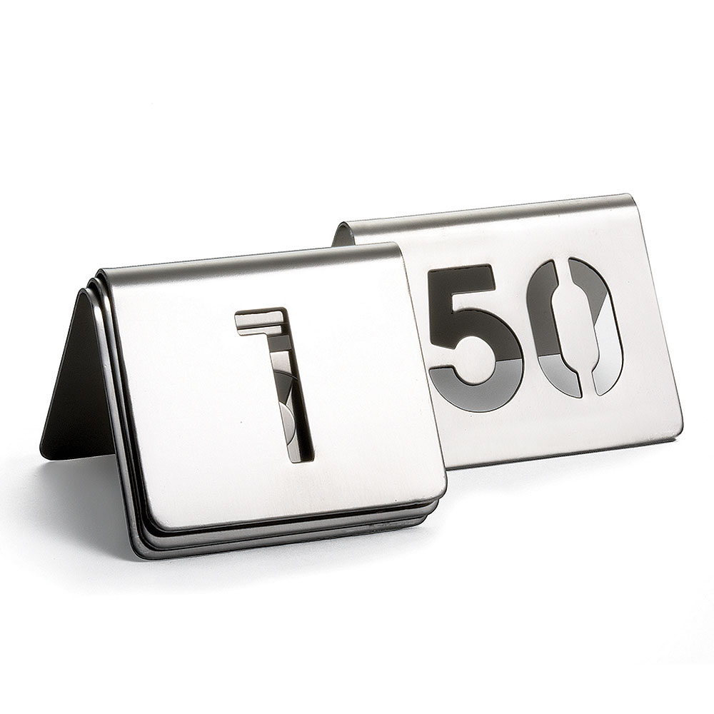 """Tablecraft TC150 Tabletop Number Cards - #1-50, 2.5"""" x 2.5"""", Stainless"""