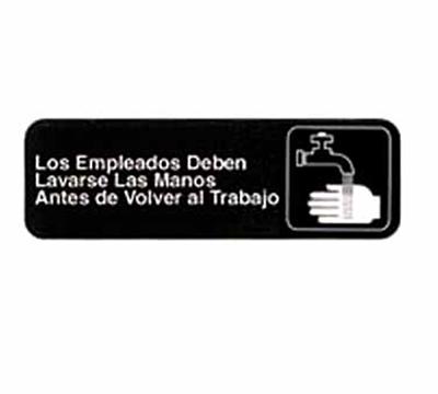 """Tablecraft 394545 3 x 9"""" Sign, Los Empleados Deben Lavarse Las Manos Antes Dea"""