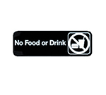 Tablecraft 394548 3 x 9-in Sign, No Food Or Drink, White On Black