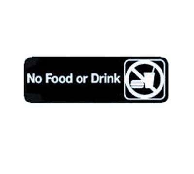 "Tablecraft 394548 3 x 9"" Sign, No Food Or Drink, White On Black"