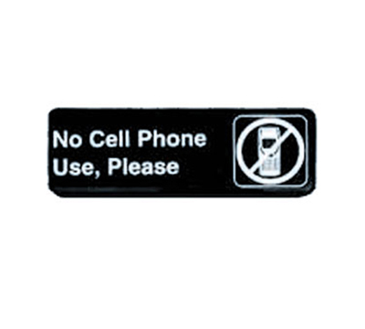 "Tablecraft 394549 3 x 9"" Sign, No Cell Phone Use, Please, White On Black"