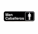 "Tablecraft 394566 3 x 9"" Sign, Men / Caballeros, White On Black"