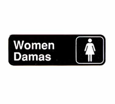Tablecraft 394567 3 x 9-in Sign, Women / Damas, White On Black