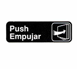 "Tablecraft 394568 3 x 9"" Sign, Push / Empujar, White On Black"