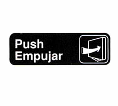 "Tablecraft 394568 3 x 9"" Sign, Push / Empujar, White On Black"