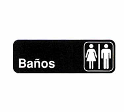Tablecraft 394572 3 x 9-in Sign, Banos / Restrooms, White On Black