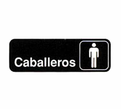 Tablecraft 394575 3 x 9-in Sign, Caballeros / Men, White On Black