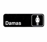 Tablecraft 394576 3 x 9-in Sign, Damas / Women, White On Black