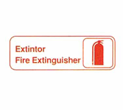 "Tablecraft 394582 3 x 9"" Sign, Exintor / Fire Extinguisher, Red On White"