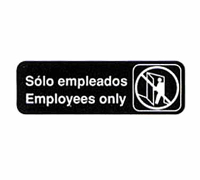 "Tablecraft 394586 3 x 9"" Sign, Solo Empleados / Employees Only, White On Black"