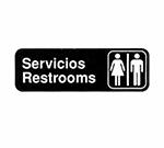 Tablecraft 394588 3 x 9-in Sign, Servicios / Restrooms, White On Black