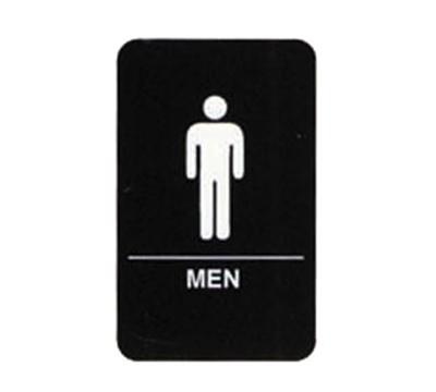 "Tablecraft 695635 6 x 9"" Sign, Men Symbol, White on Black"