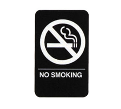 "Tablecraft 695638 6 x 9"" Sign, No Smoking Symbol, White on Black"