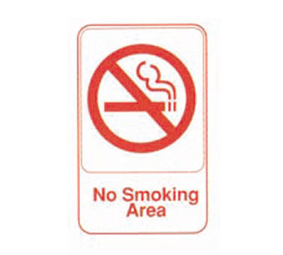 Tablecraft 695643 6 x 9-in Sign, No Smoking Area, Red On White