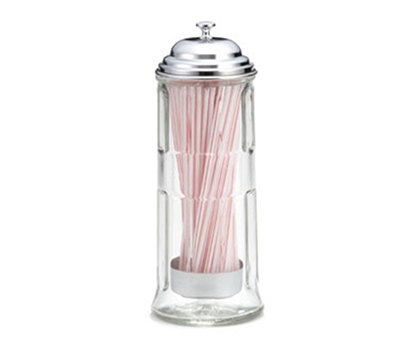 Tablecraft 714CH Glass Straw Dispenser w/ Chrome Plated Top