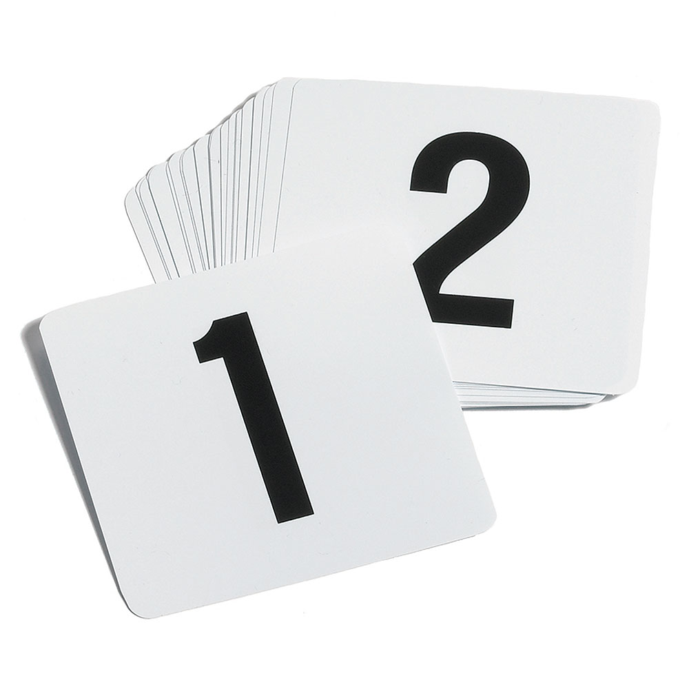 "Tablecraft TN100 Tabletop Number Cards - #1-100, 4"" x 4"", White/Black"