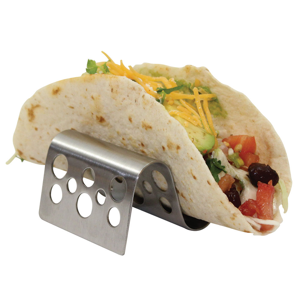 Tablecraft TRSP12 Taco Holder - Holds 1-2 Tacos, Solid Pattern, Stainless