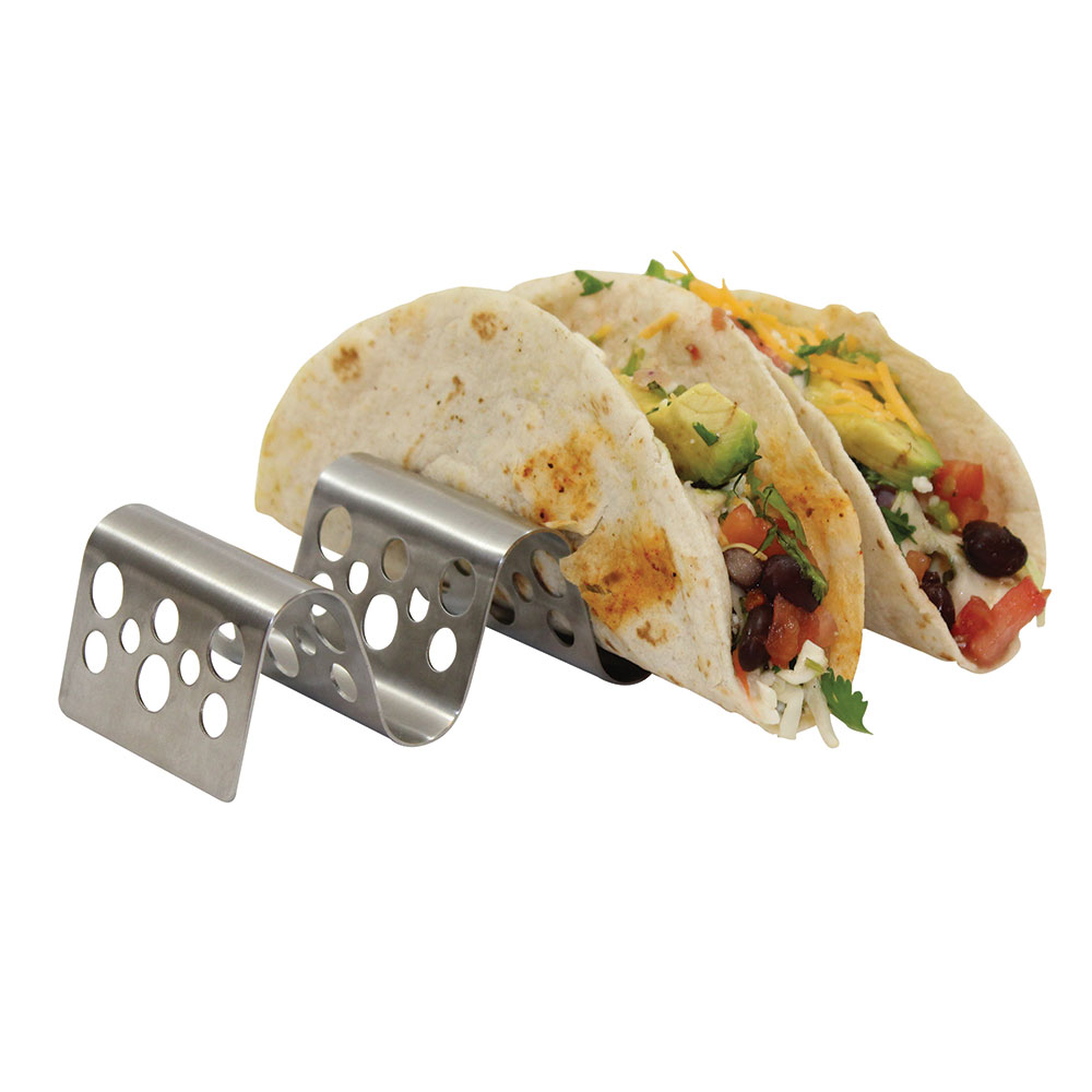 Tablecraft TRSP34 Taco Holder - Holds 3-4 Tacos, Solid Pattern, Stainless