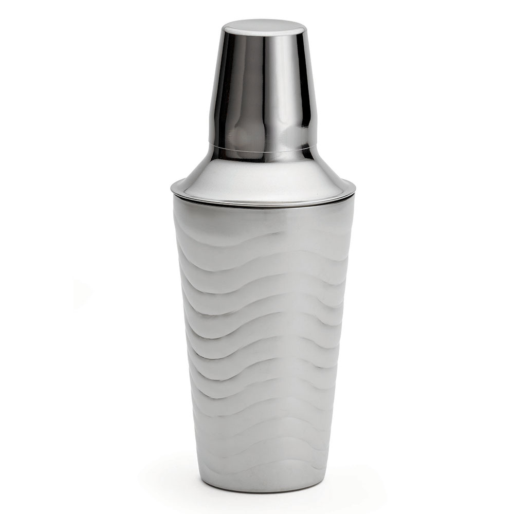 Tablecraft W376 17-oz Cocktail Shaker w/ Wave Design, Stainless