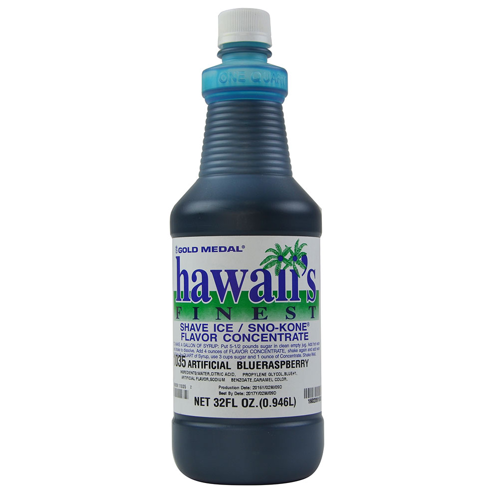 Gold Medal 1035 1-qt. Hawaii's Finest Shave Ice/Sno-Kone Blue Raspberry Flavor Concentrate