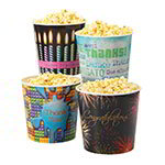 Gold Medal 1602 Gourmet Popcorn Tub w/ Black Lid, HAPPY BIRTHDAY