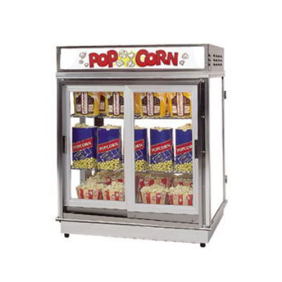 Gold Medal 2004DN Astro Pop Staging Cabinet w/ 2-Swing Out Doors & 3-Shelf Warmers, Neon Sign