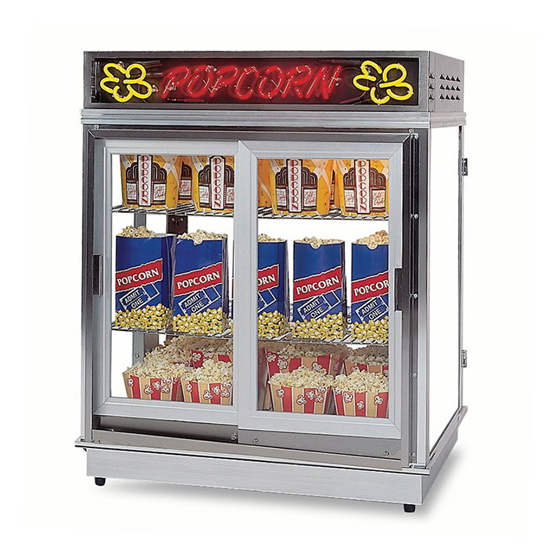 Gold Medal 2004SLDDN Astro Pop Staging Cabinet w/ 2-Sliding Doors & 3-Shelf Warmers, Neon Sign