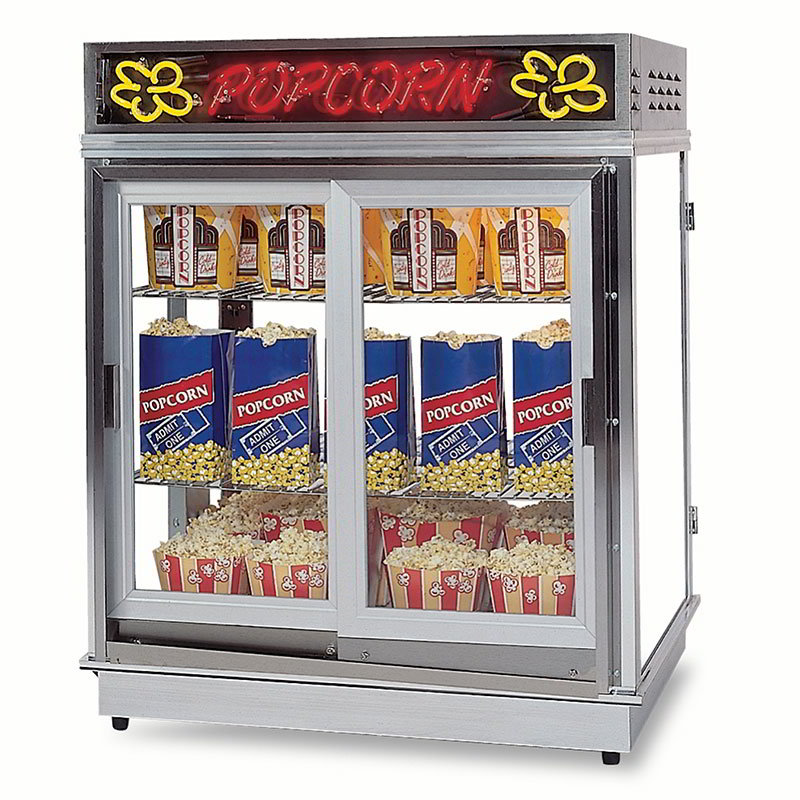 Gold Medal 2004SLN Astro Pop Staging Cabinet w/ Sliding Door & 3-Shelf Warmers, Neon Sign