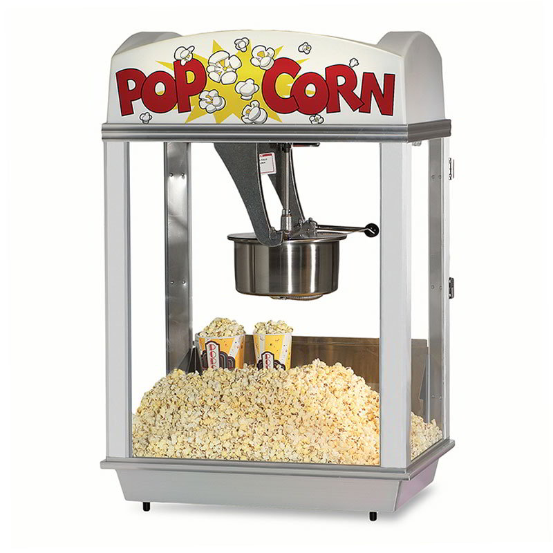 Gold Medal 2005 120208 Deluxe Whiz Bang Popcorn Machine w/ 12-oz Kettle & White Dome, 120/208V