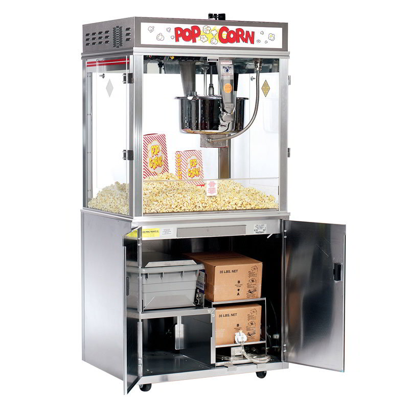 Gold Medal 2011EBS 120240 Pop-O-Gold Popcorn Machine on Base w/ 32-oz Kettle & Counter Model, 120/240V