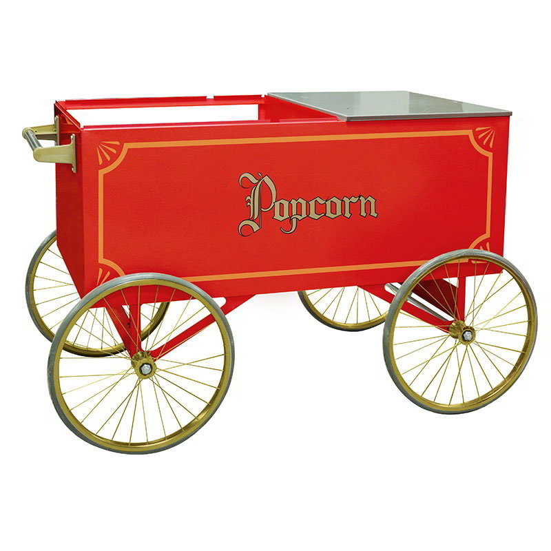 Gold Medal 2012 Popcorn Wagon w/ Stainless Countertop & 4-Spoke Wheels, Red, 64x34""