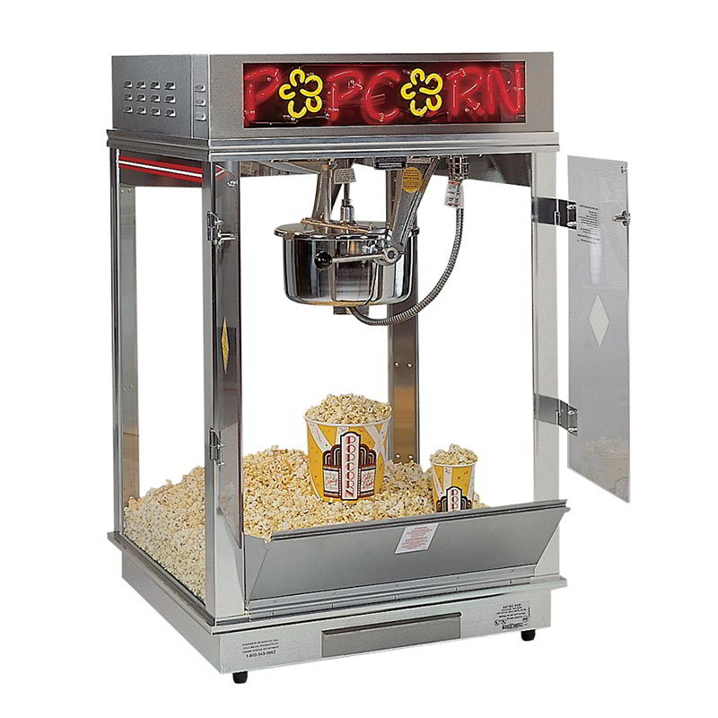 Gold Medal 2023EN 120240 Astro Pop 16 Popcorn Machine w/ 16-oz Kettle & 2-Color Neon Dome, 120/240V